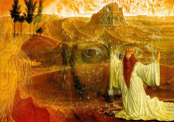 Ernst Fuchs. Moses and the burning Bush