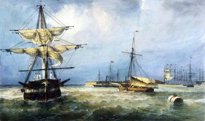 Фердинанд-Виктор Перро. Вид Кронштадтской гавани