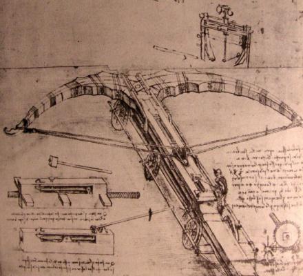 Leonardo da Vinci. Drawing of giant crossbow
