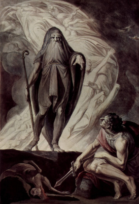 Johann Heinrich Fuessli. Tiresias appears to Ulysses during the sacrifice
