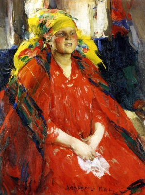 Abram Arkhipov. A young woman in a yellow shawl
