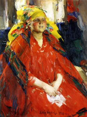 Абрам Ефимович Архипов. Молодая крестьянка в желтом платке