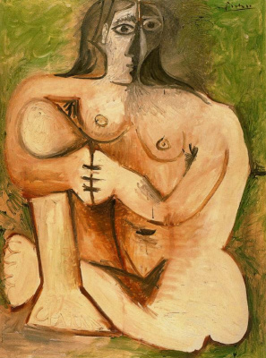 Pablo Picasso. Woman squatting on a green background