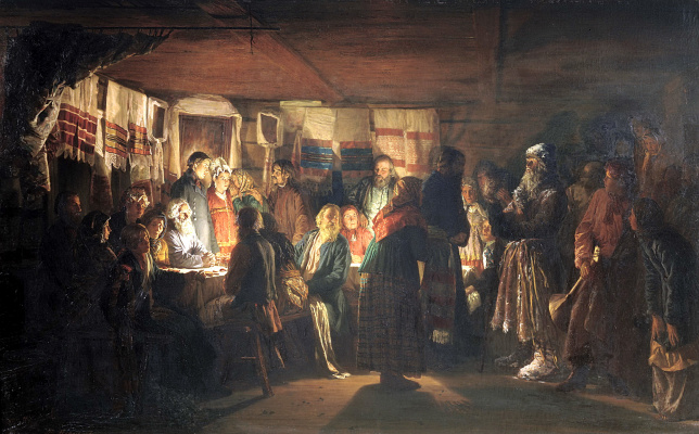 Vasily Maksimovich Maksimov. The arrival of the sorcerer at a peasant wedding