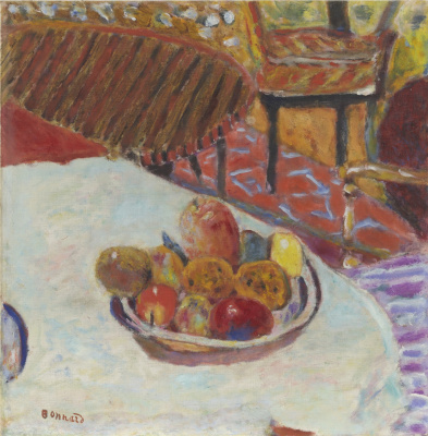 Pierre Bonnard. A bowl of fruit on the table