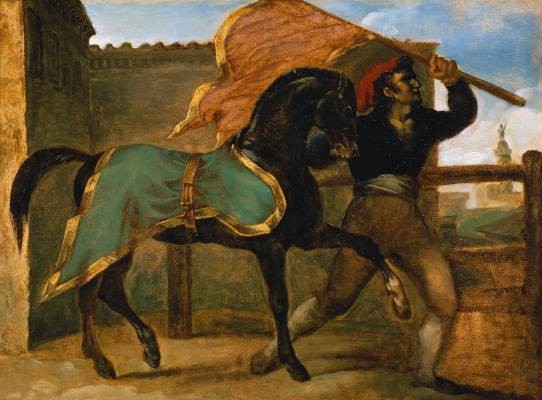 Théodore Géricault. Horse racing Horse under green and gold blanket