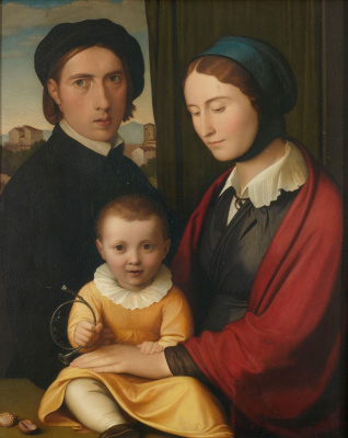 Johann Friedrich Overbeck. Self portrait with wife and son Alfons