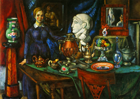 Ilya Mashkov. Still life with a female figure
