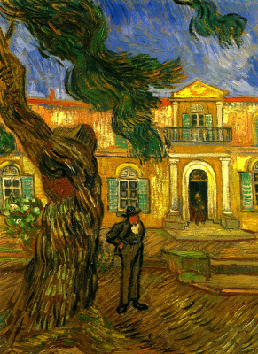 Vincent van Gogh. Pine tree with figure in the garden of the hospital Saint-Paul