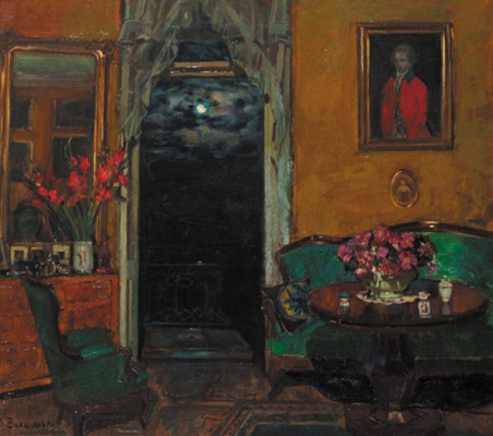 Stanislav Yulianovich Zhukovsky. Night interior with an open balcony