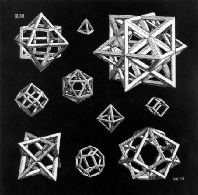 Maurits Cornelis Escher. Sketch with stars