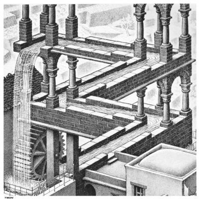 Maurits Cornelis Escher. Waterfall. Fragment