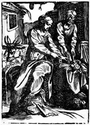 Мартин Брозамер. Мария и Иосиф с младенцем в хлеву