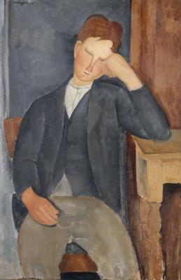 Амедео Модильяни. Молодой подмастерье, облокотившийся на стол
