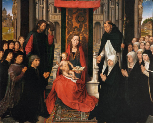 Hans Memling. The virgin and child, with Saint James and Saint Dominic or the virgin Jacob Florine