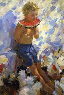 Yuri Krotov. Alyosha with a watermelon.