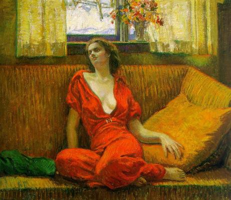 Уилсон Ирвайн. Женщина в красном платье