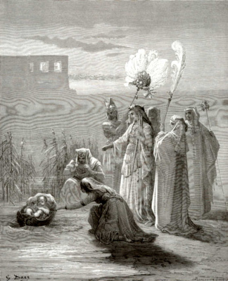 Paul Gustave Dore. Illustration to the Bible: Pharaoh's daughter saves Moses
