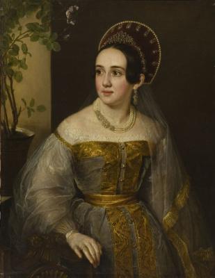 Vasily Andreevich Tropinin. Portrait widow Ekaterina Ivanovna Karzinkina in Russian costume