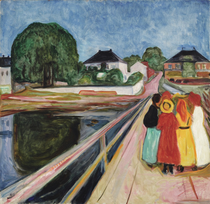 Girls on a bridge