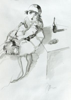 Рустам Усманович Хамдамов. Дама у стола