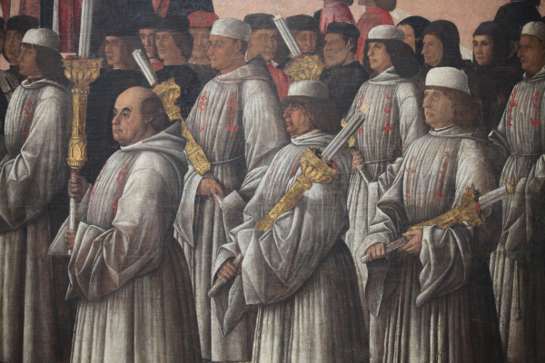 Gentile Bellini. The procession of the relics of the Holy Cross in St. Mark's Square. Fragment V
