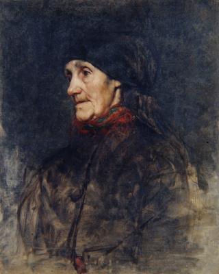 Anton Azhbe. Old woman with red veil