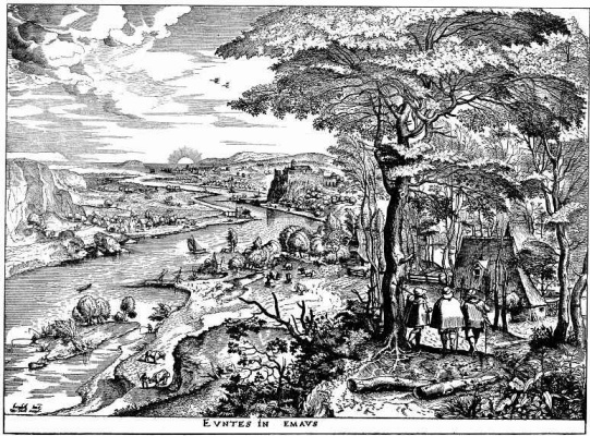 "Pieter Bruegel The Elder. The travelers on the road to Emmaus. A series of ""Large landscapes"""