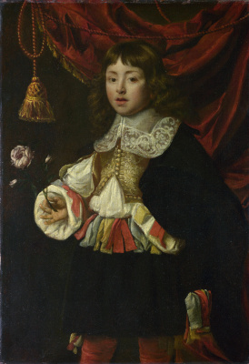 Flemish. Portrait of a boy holding a rose