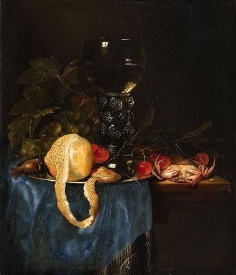 Питер де Ринг. Натюрморт с лимоном, виноградом, вишнями и моллюсками