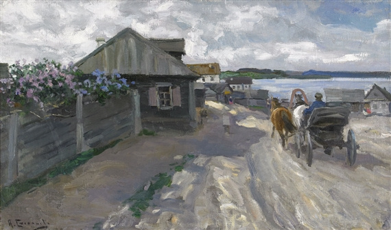 Alexey Stepanovich Stepanov. The village is on the shore