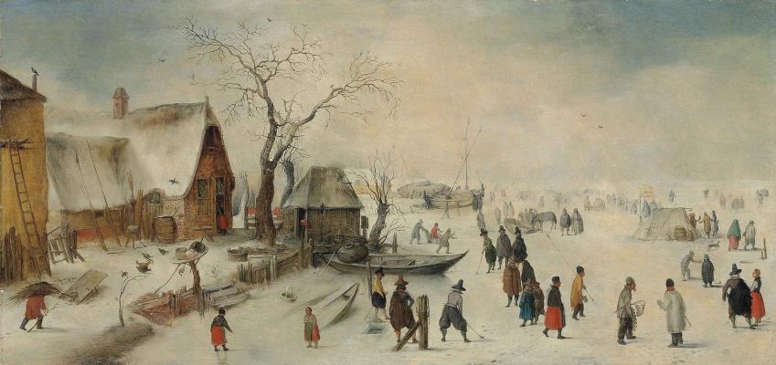 Hendrik Avercamp. Winter landscape with skaters