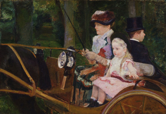 Woman and girl in the wagon