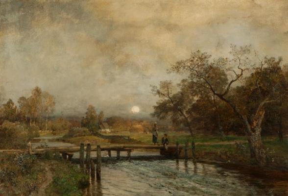 Večerní krajina s řekou