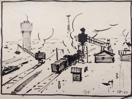 George Grigorievich Nyssa. Loading coal into the locomotive