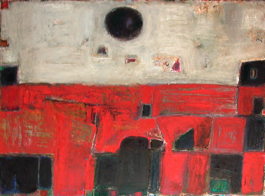 "Igor Vasilyevich Kislitsyn. ""Black Sun"",2004, oil on canvas, 140 x 190 From the series RED LAND"