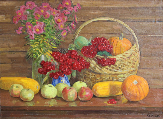 Евгений Александрович Казанцев. Still life viburnum, apples.