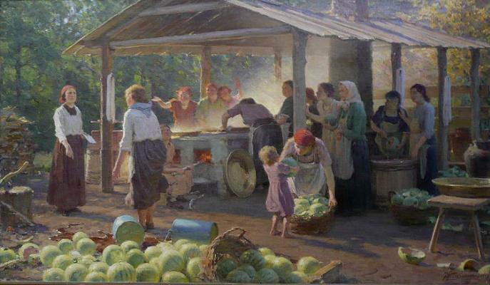 Яков Яковлевич Вебер. Варка арбузного меда.1937