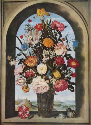Амброзиус Босхарт Старший. Ваза с цветами в оконной нише