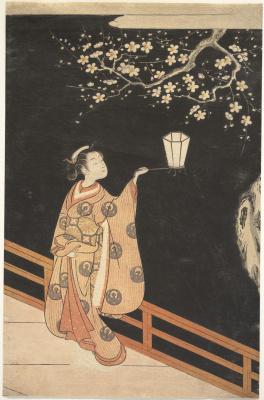 Судзуки Харунобу. Женщина любуется цветением сливы ночью