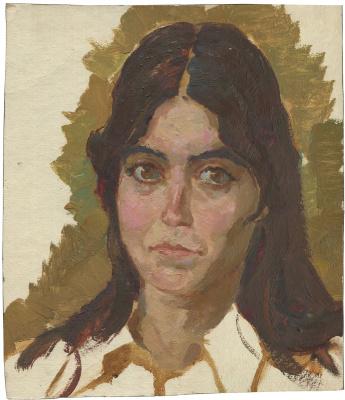 Alexandrovich Rudolf Pavlov. Portrait of Tatyana Nichaeva, the librarian. 1988