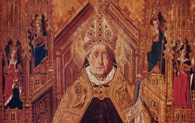 Бартоломе Бермехо. Св. Доминик на троне с семью главными добродетелями. Деталь