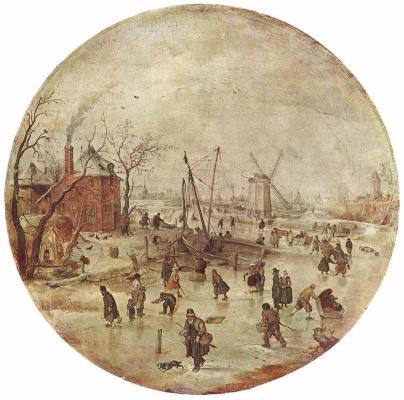 Хендрик Аверкамп. Зимний пейзаж с катающимися на коньках.