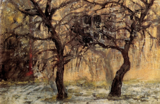 Mikhail Larionov. Trees on the background of the house