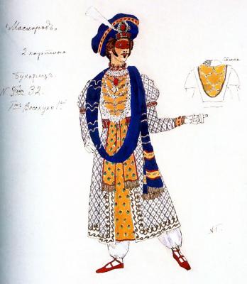 "Alexander Yakovlevich Golovin. The Bukharans. Costume design for the drama M. Y. Lermontov's ""Masquerade"""