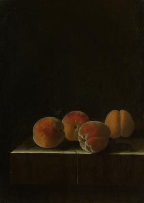 Адриан Коорт (Коорте). Четыре персика на каменном постаменте