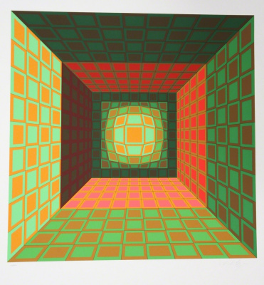 Victor Vasarely. Green and orange composition