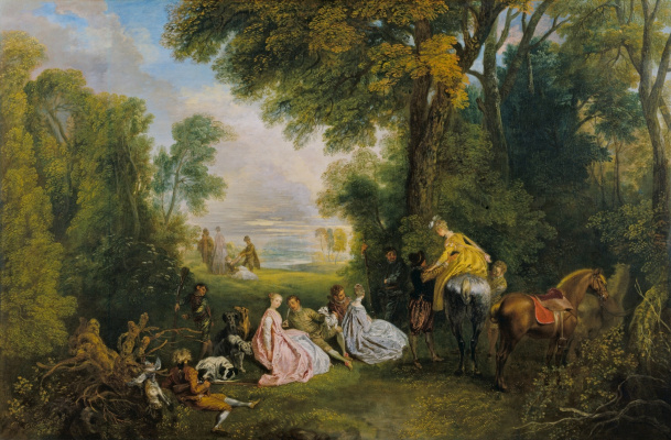 Antoine Watteau. A date for the hunt