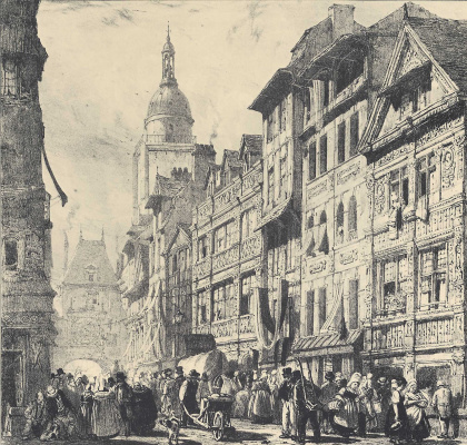 Richard Parkes Bonington. Street of the Big clock in Rouen