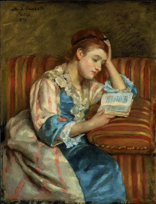 Mary Cassatt. Mrs. Duffee seated on a striped sofa, reading